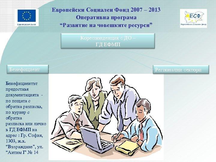 """Европейски Социален Фонд 2007 – 2013 Оперативна програма """"Развитие на човешките ресурси"""" Кореспонденция с"""
