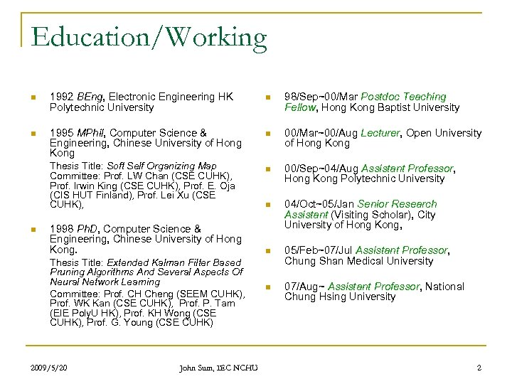 Education/Working n 1992 BEng, Electronic Engineering HK Polytechnic University n 98/Sep~00/Mar Postdoc Teaching Fellow,