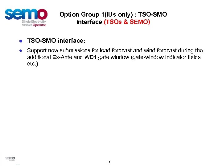 Option Group 1(IUs only) : TSO-SMO interface (TSOs & SEMO) ● TSO-SMO interface: ●