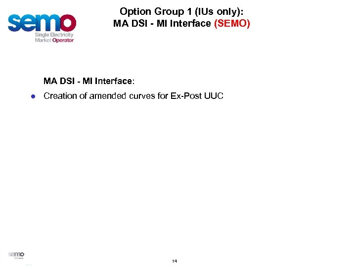 Option Group 1 (IUs only): MA DSI - MI Interface (SEMO) MA DSI -