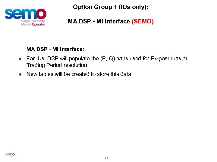 Option Group 1 (IUs only): MA DSP - MI Interface (SEMO) MA DSP -