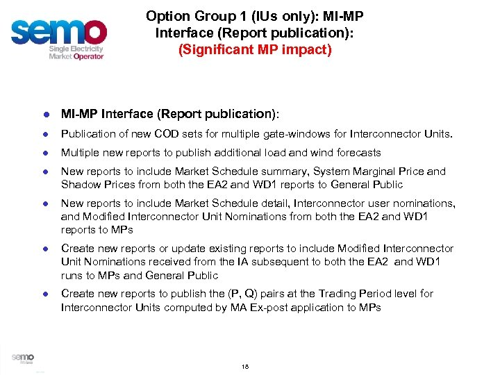 Option Group 1 (IUs only): MI-MP Interface (Report publication): (Significant MP impact) ● MI-MP