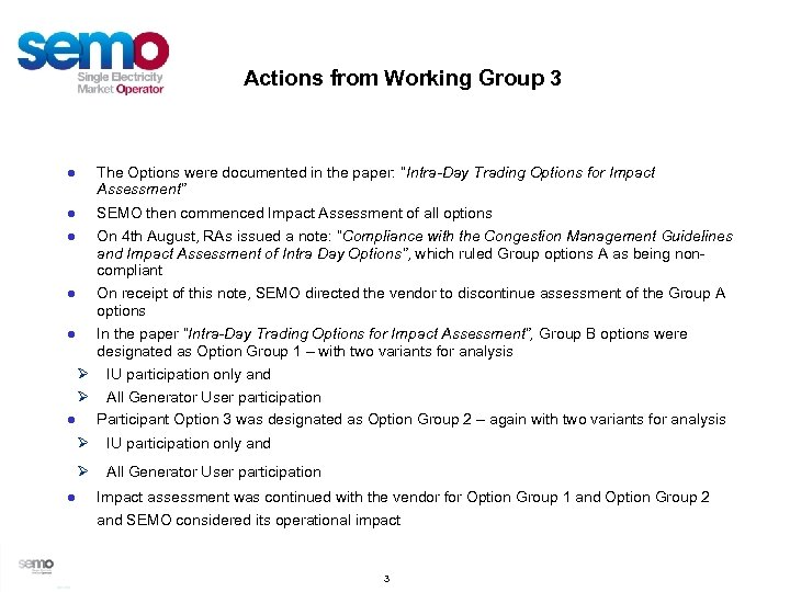 "Actions from Working Group 3 ● The Options were documented in the paper: ""Intra-Day"