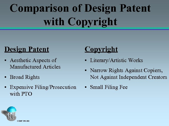 Comparison of Design Patent with Copyright Design Patent Copyright • Aesthetic Aspects of Manufactured