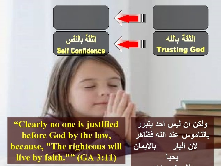 """""""Clearly no one is justified ﻭﻟﻜﻦ ﺍﻥ ﻟﻴﺲ ﺍﺣﺪ ﻳﺘﺒﺮﺭ before God by the"""