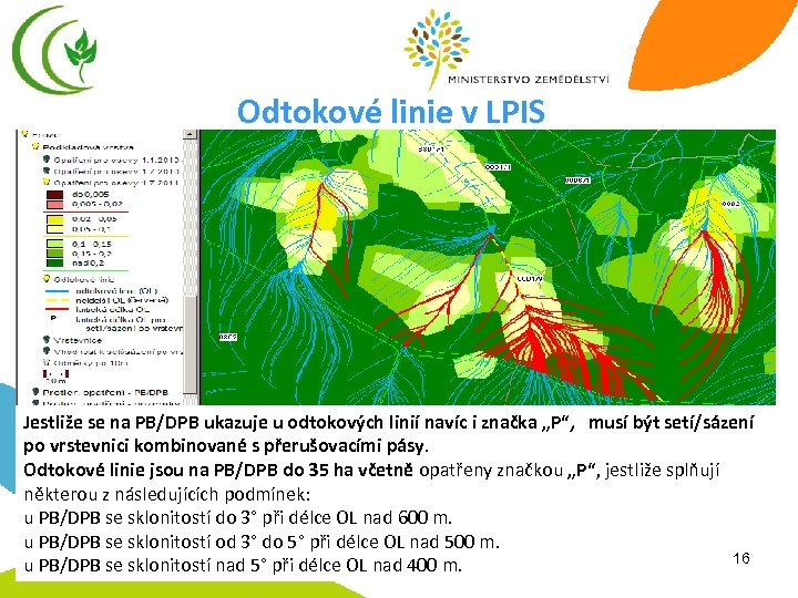 Odtokové linie v LPIS Jestliže se na PB/DPB ukazuje u odtokových linií navíc i
