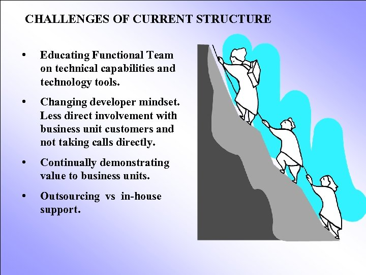 CHALLENGES OF CURRENT STRUCTURE • Educating Functional Team on technical capabilities and technology tools.