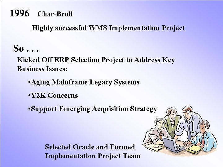 1996 Char-Broil Highly successful WMS Implementation Project So. . . Kicked Off ERP Selection