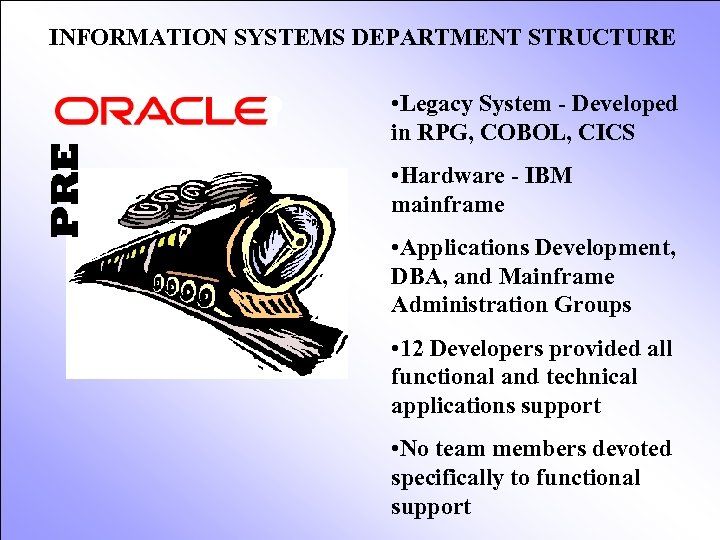 PRE INFORMATION SYSTEMS DEPARTMENT STRUCTURE • Legacy System - Developed in RPG, COBOL, CICS