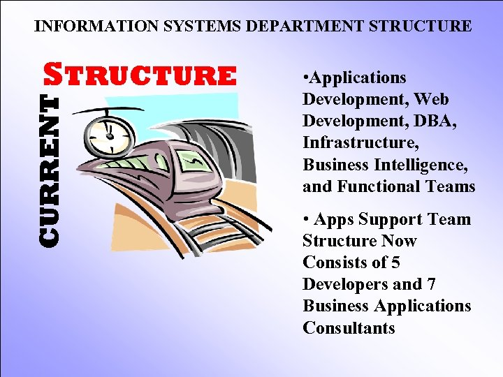 INFORMATION SYSTEMS DEPARTMENT STRUCTURE CURRENT STRUCTURE • Applications Development, Web Development, DBA, Infrastructure, Business