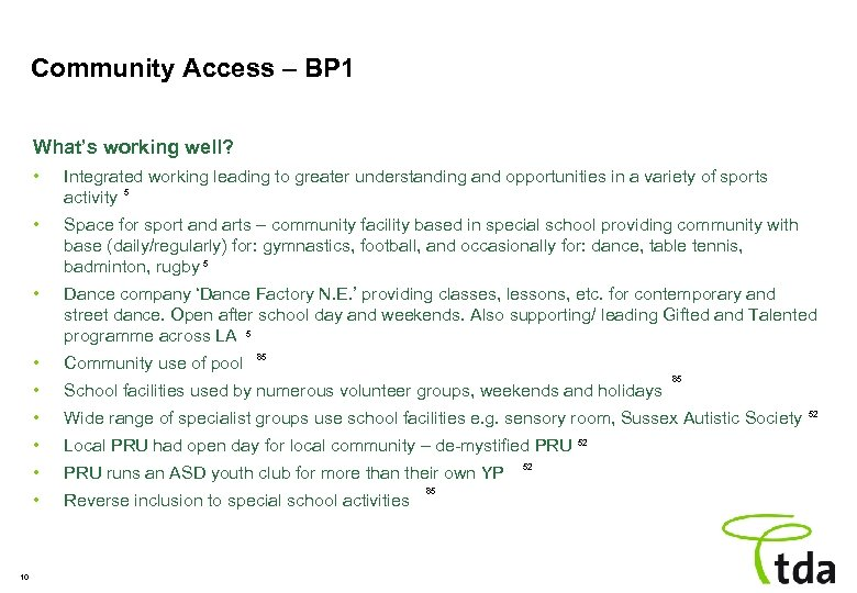 Community Access – BP 1 What's working well? • • Space for sport and
