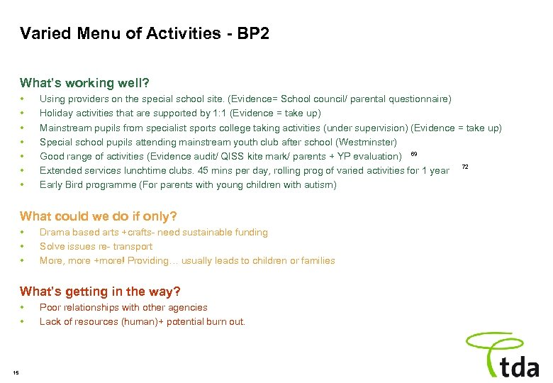 Varied Menu of Activities - BP 2 What's working well? • • Using providers