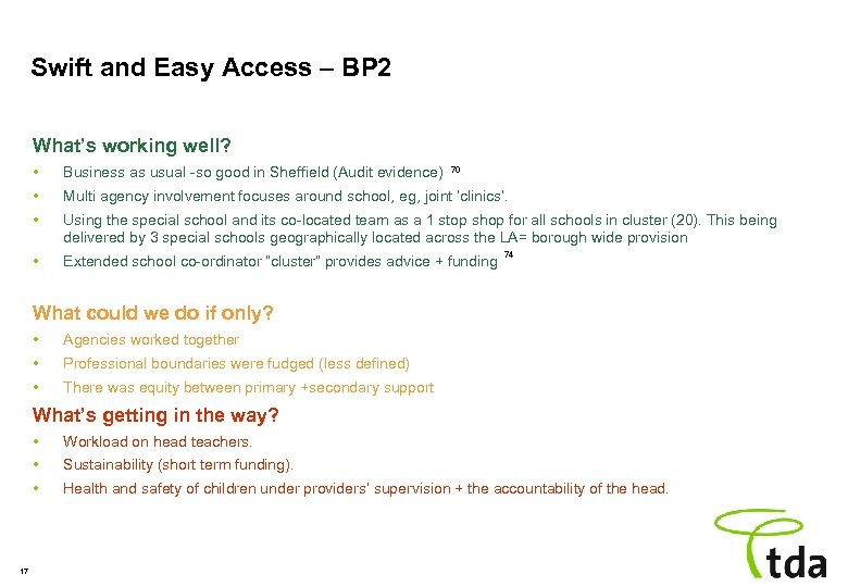 Swift and Easy Access – BP 2 What's working well? • Business as usual