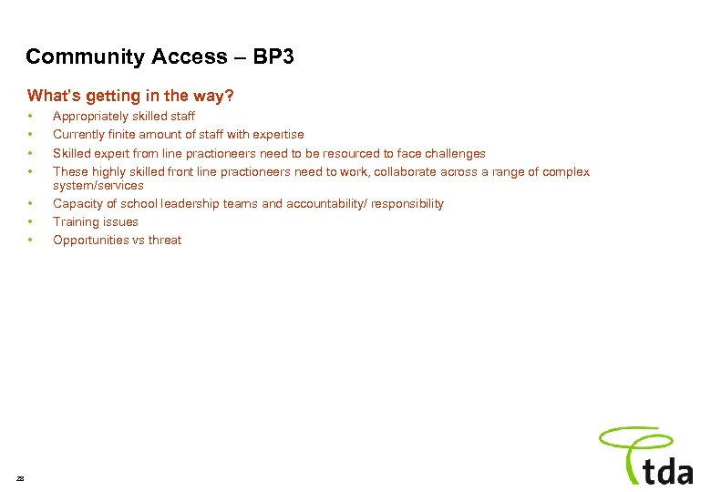 Community Access – BP 3 What's getting in the way? • • 28 Appropriately