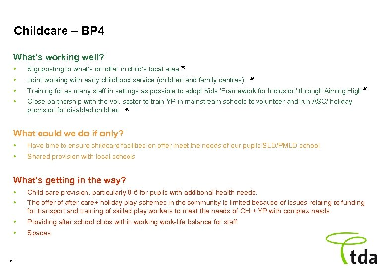 Childcare – BP 4 What's working well? • Signposting to what's on offer in