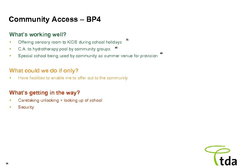 Community Access – BP 4 What's working well? 78 • Offering sensory room to