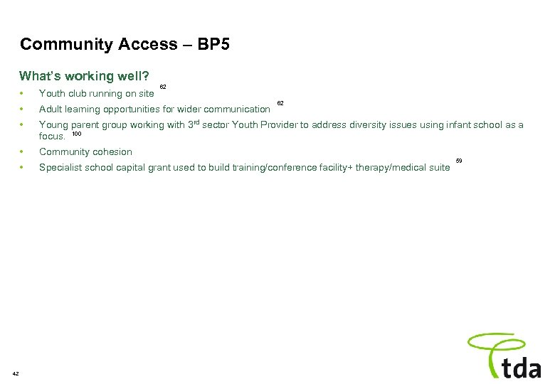 Community Access – BP 5 What's working well? 62 • • Adult learning opportunities