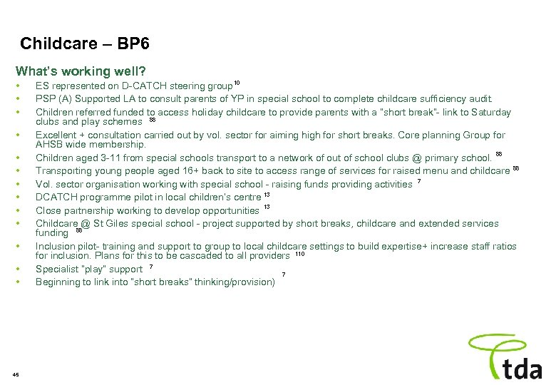 Childcare – BP 6 What's working well? • • • • 45 ES represented
