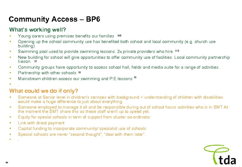 Community Access – BP 6 What's working well? • • Young carers using premises