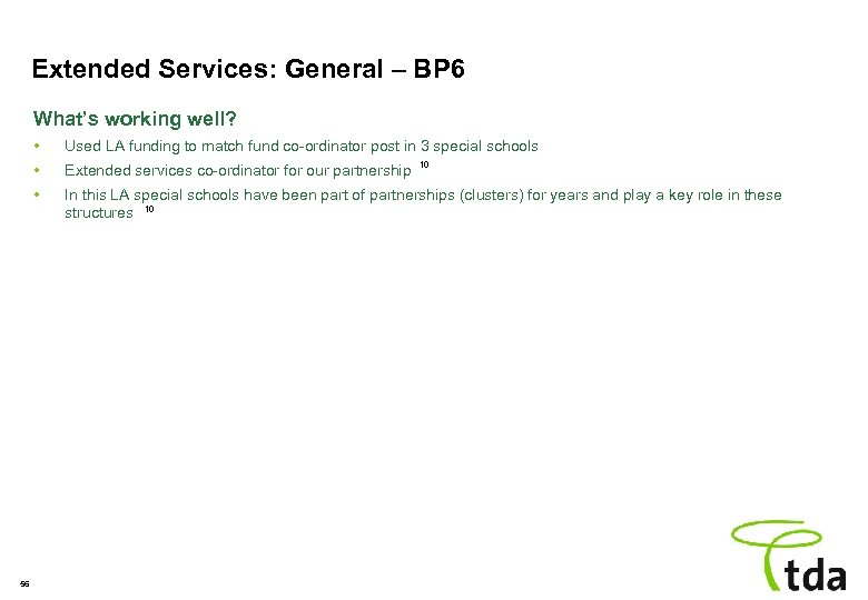 Extended Services: General – BP 6 What's working well? • • Extended services co-ordinator