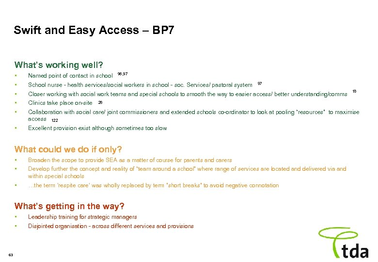 Swift and Easy Access – BP 7 What's working well? 96, 97 • •
