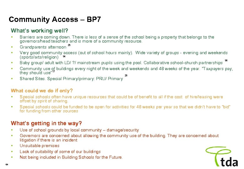 Community Access – BP 7 What's working well? • • • Barriers are coming