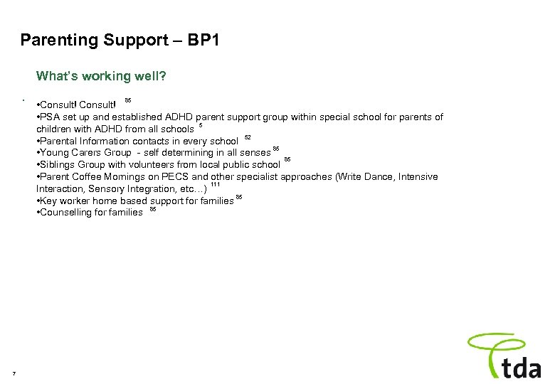 Parenting Support – BP 1 What's working well? . 7 85 • Consult! •
