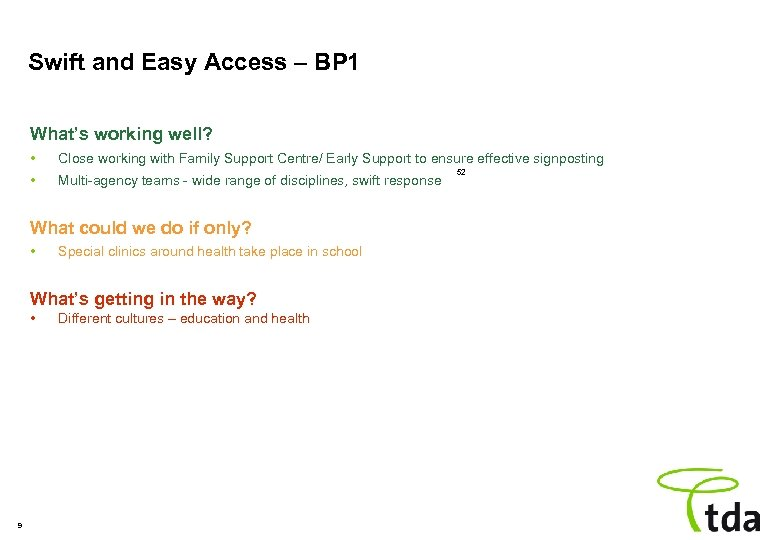 Swift and Easy Access – BP 1 What's working well? • Close working with