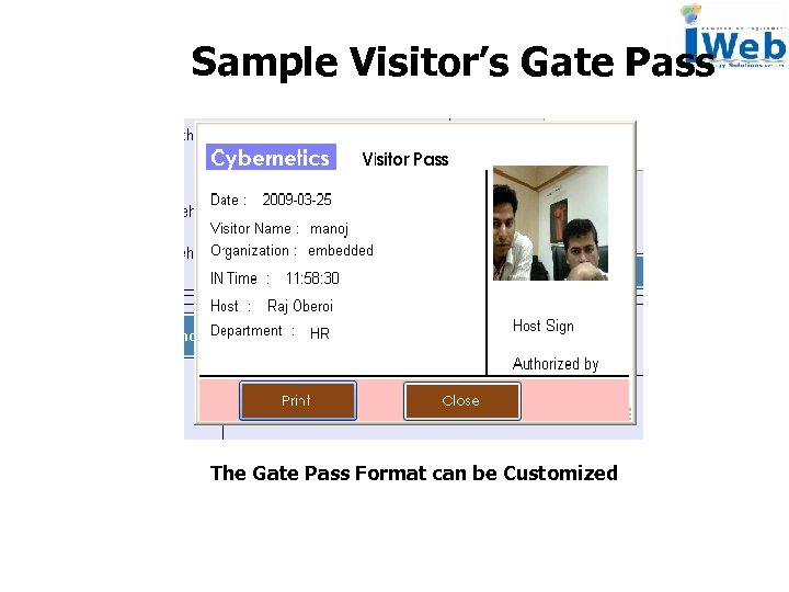 Sample Visitor's Gate Pass The Gate Pass Format can be Customized