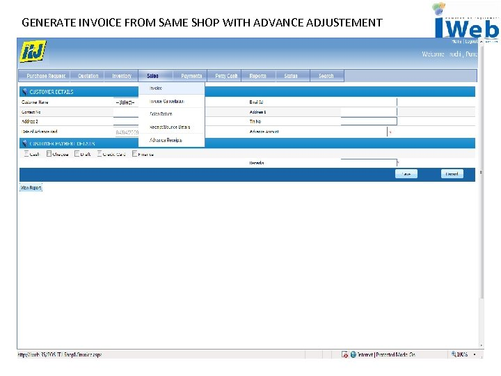 GENERATE INVOICE FROM SAME SHOP WITH ADVANCE ADJUSTEMENT