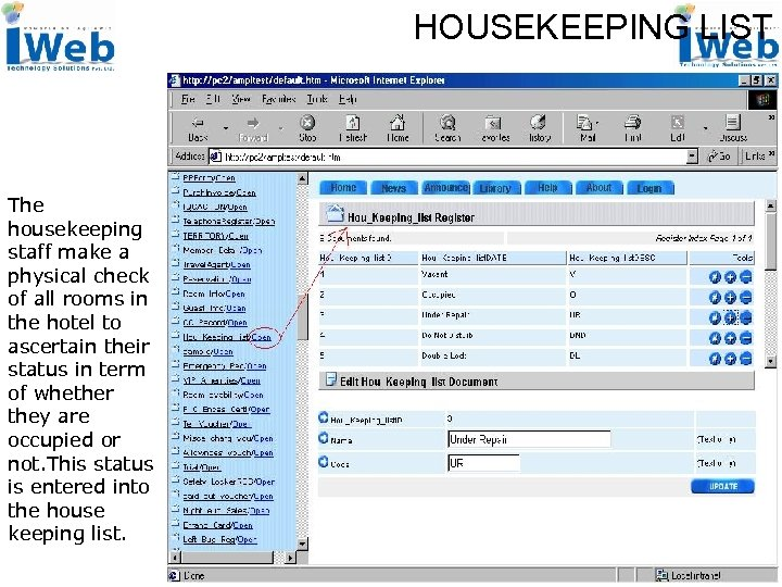 HOUSEKEEPING LIST The housekeeping staff make a physical check of all rooms in the