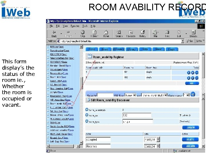 ROOM AVABILITY RECORD This form display's the status of the room ie. , Whether