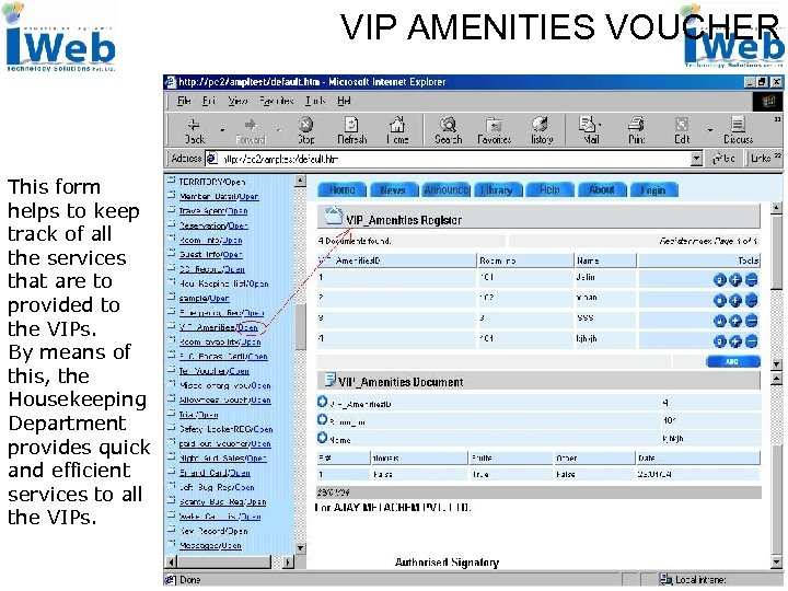 VIP AMENITIES VOUCHER This form helps to keep track of all the services that