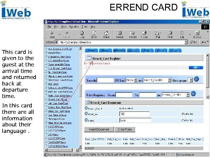 ERREND CARD This card is given to the guest at the arrival time and