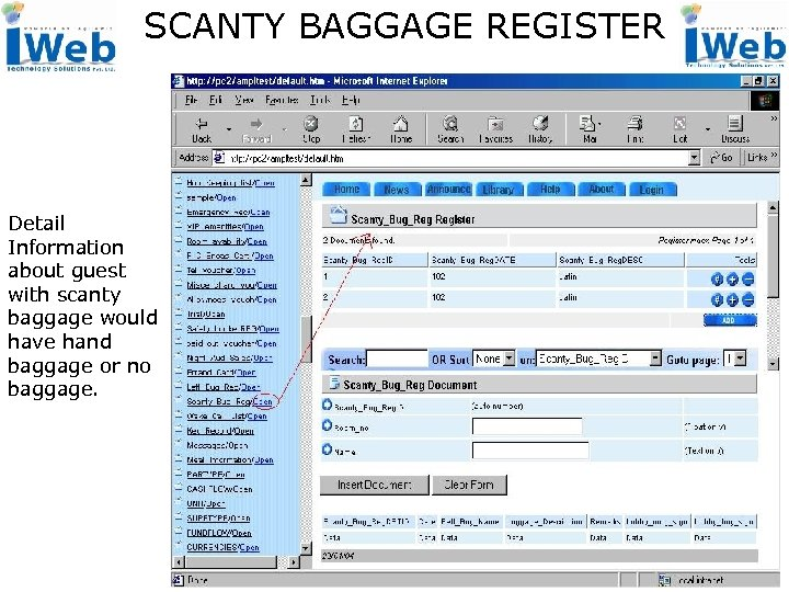 SCANTY BAGGAGE REGISTER Detail Information about guest with scanty baggage would have hand baggage