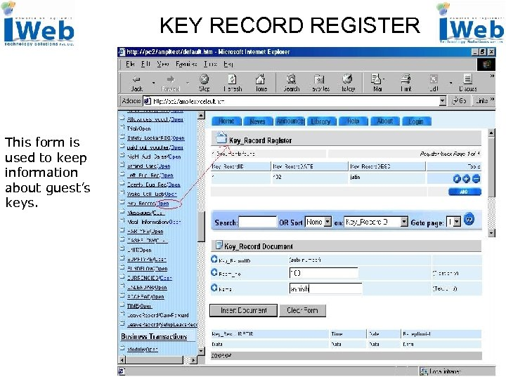 KEY RECORD REGISTER This form is used to keep information about guest's keys.
