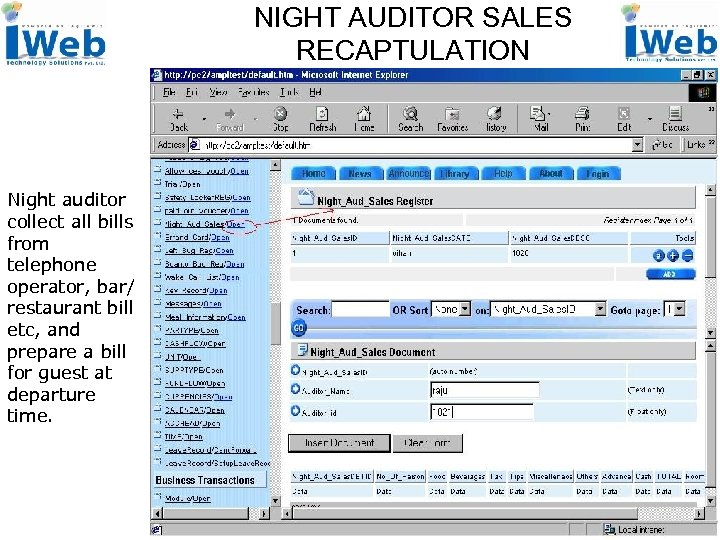 NIGHT AUDITOR SALES RECAPTULATION Night auditor collect all bills from telephone operator, bar/ restaurant
