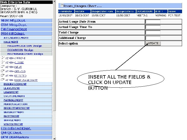 INSERT ALL THE FIELDS & CLICK ON UPDATE BUTTON
