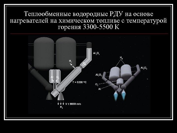 Теплообменные водородные РДУ на основе нагревателей на химическом топливе с температурой горения 3300 -5500
