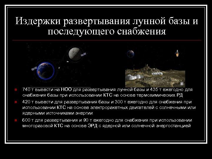 Издержки развертывания лунной базы и последующего снабжения n n n 740 т вывести на