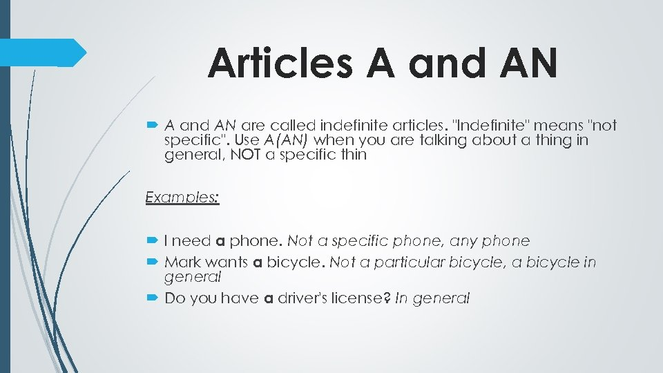 Articles A and AN are called indefinite articles.