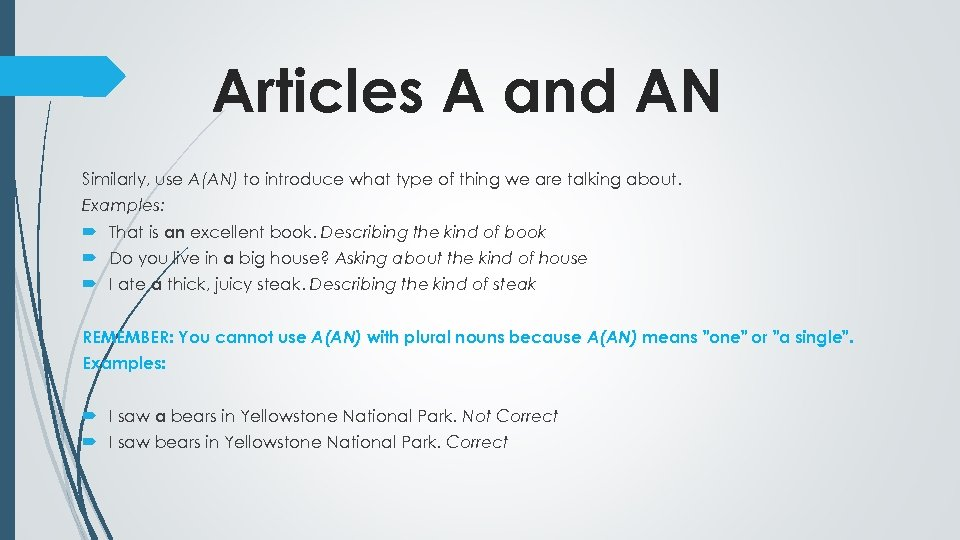 Articles A and AN Similarly, use A(AN) to introduce what type of thing we