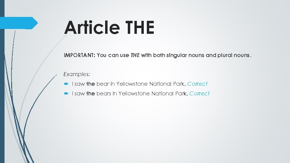 Article THE IMPORTANT: You can use THE with both singular nouns and plural nouns.