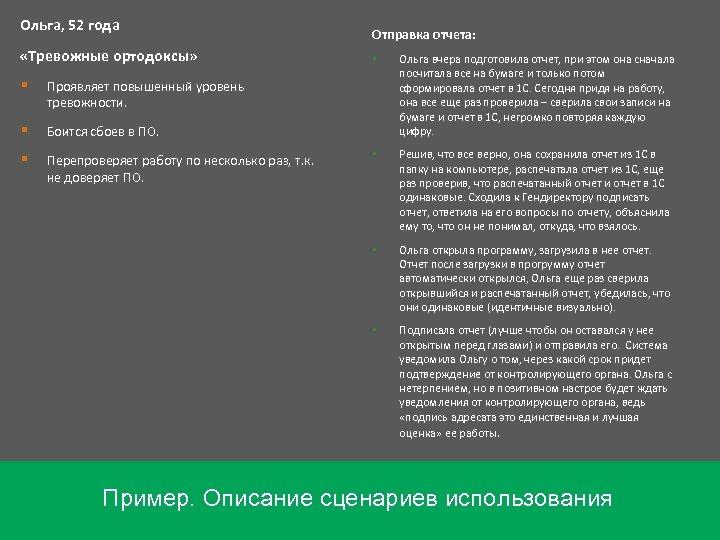 Ольга, 52 года «Тревожные ортодоксы» Отправка отчета: Ольга открыла программу, загрузила в нее отчет.