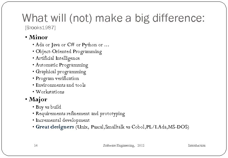What will (not) make a big difference: [Brooks 1987] • Minor • Ada or