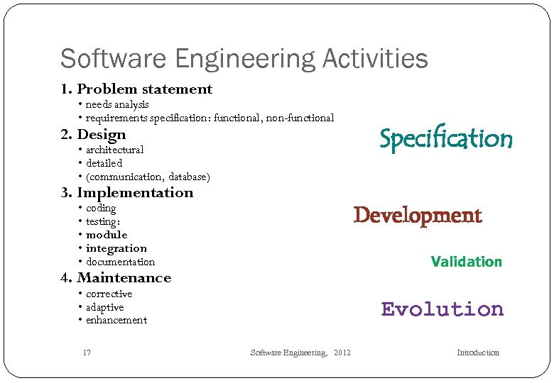 Software Engineering Activities 1. Problem statement • needs analysis • requirements specification: functional, non-functional