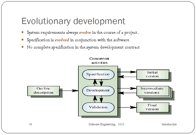 Evolutionary development System requirements always evolve in the course of a project. Specification is