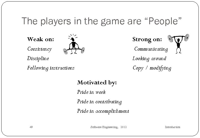 """The players in the game are """"People"""" Weak on: Consistency Discipline Following instructions Strong"""