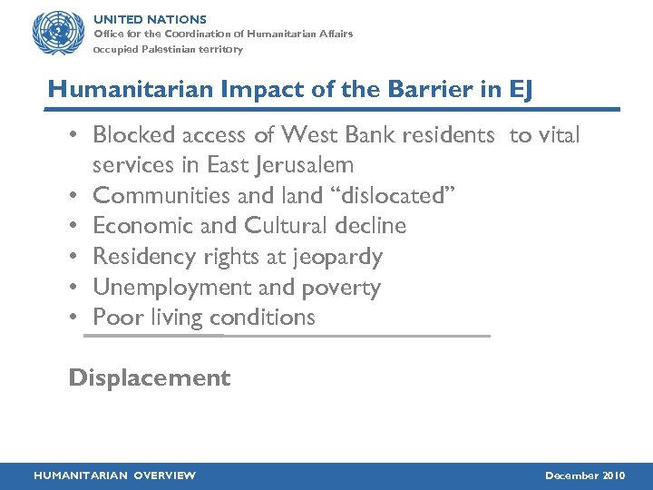 UNITED NATIONS Office for the Coordination of Humanitarian Affairs occupied Palestinian territory Humanitarian Impact