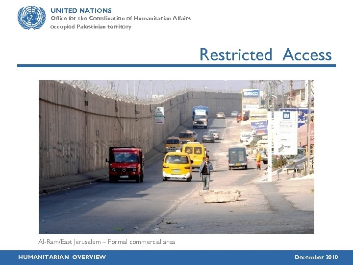 UNITED NATIONS Office for the Coordination of Humanitarian Affairs occupied Palestinian territory Restricted Access